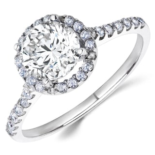 14k White Gold Round Cubic Zirconia Halo Design Engagement Ring