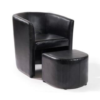 Black Club Chair/ Ottoman Set