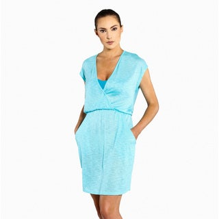Jordan Taylor Women's Aqua Tulum Cap-sleeve Surplice Pocket Dress