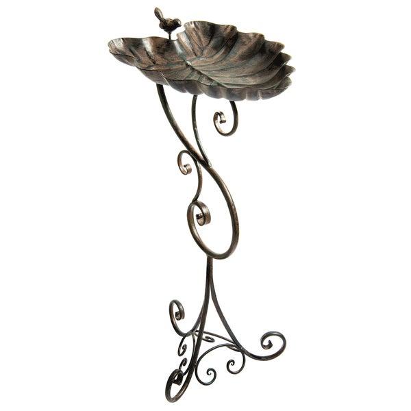 Ornate Leaf Pedestal Bird Bath