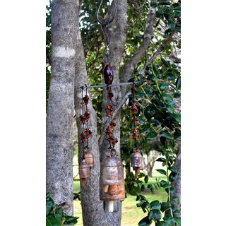 Hand-hammered Bells Wind Chime with Hand Blown Glass Beads (India)