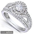 Annello 14k White Gold 1ct TDW Round Cut Diamond 2-piece Bridal Rings Set (H-I, I1-I2)