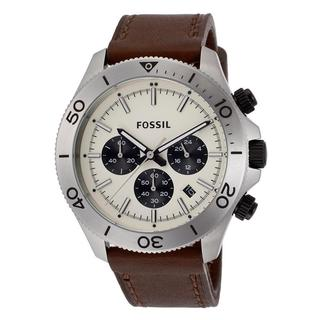 Fossil Men's Brown Leather Retro Traveler Watch