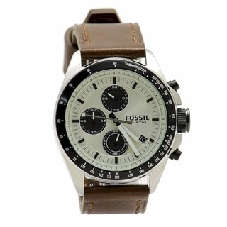 Fossil Men's 'Decker' Brown Leather Chronograph Watch
