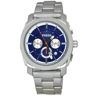 Fossil Men's 'Machine' Blue Dial Stainless Steel Watch
