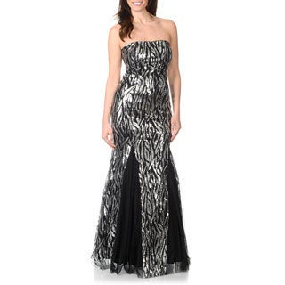 Betsy & Adam Women's Black/ Silver Strapless Mesh Sequence Dress