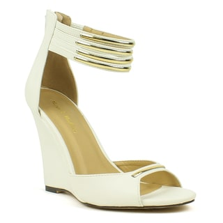 Mark and Maddux Women's 'Stana-06' Chrome-accented Ankle Strap Wedge Sandals