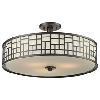 Z-Lite Elea 3-light 20.5-inch Bronze Semi-flush Ceiling Mount with Matte Opal Glass