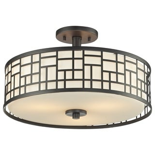 Z-Lite Elea 3-light Bronze Semi-flush Ceiling Mount with Matte Opal Glass