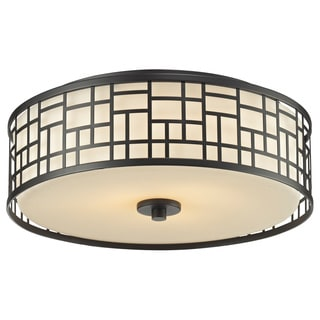 Z-Lite Elea 3-light Bronze Ceiling Flush Mount with Matte Opal Glass