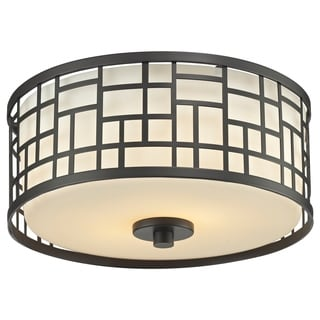 Z-Lite Elea 2-light Bronze Ceiling Flush Mount with Matte Opal Glass