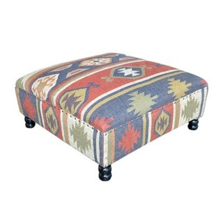 Handmade Woven Kilim and Nail Head Ottoman (India)
