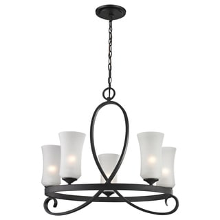 Z-Lite Arshe 5-light Bronze Chandelier with Matte Opal Glass