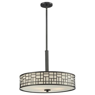 Z-Lite Elea 3-light Bronze Pendant with Matte Opal Glass