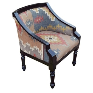 Handmade Multi-colored Wooden Kilim Arm Chair (India)