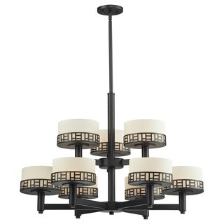 Z-Lite Elea 9-light Bronze Chandelier with Matte Opal Glass