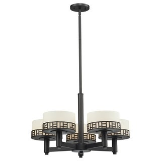 Z-Lite Elea 5-light Bronze Chandelier with Matte Opal Glass