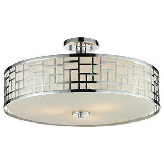 Z-Lite Elea 3-light 20.5-inch Semi-flush Mount Chrome Ceiling Fixture with Matte Opal Glass