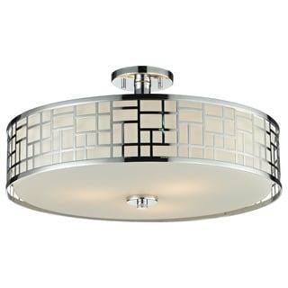 Z-Lite Elea 3-light 20.5-inch Semi-flush Mount Chrome Ceiling Fixture with Matte Opal Glass