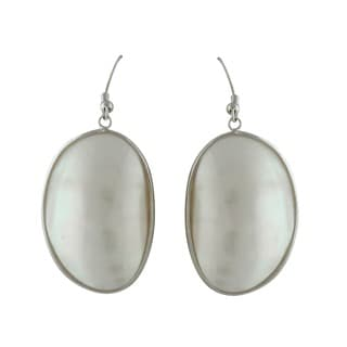 Gardenia Jewelry Mabe White Smooth Mother Of Pearl Dangle Earrings