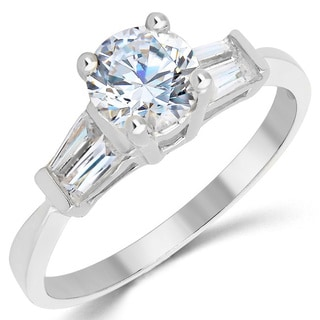 14k White Gold 1ct TGW Cubic Zirconia Engagement Ring