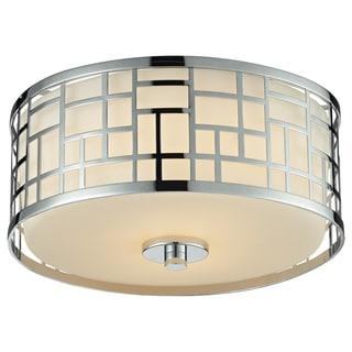 Z-Lite Elea 2-light Chrome Flush Mount Ceiling Fixture with Matte Opal Glass