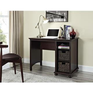 Altra Warren Single Pedestal Desk with Two Water Hyacinth Storage Bins