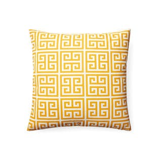 Contemporary Yellow Greek Key Square Indoor/ Outdoor Throw Pillow