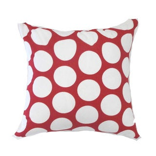 Contemporary Geometric Red/ White Polka Dot Square Throw Pillow