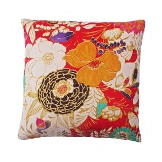 Contemporary Red Bohemian Floral Square Accent Pillow
