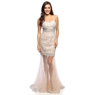 Daniella Couture Women's Beige Rhinestones and Lace Gown