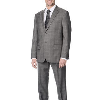 Nautica Men's Grey Plaid Wool Suit