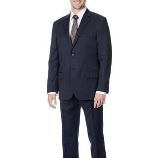 Nautica Men's Navy Plaid Wool Suit