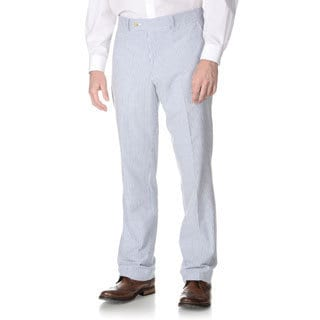 Nautica Men's Blue Seersucker Flat-front Pants