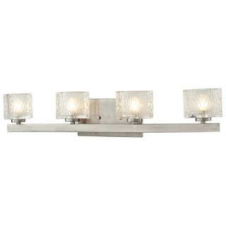 Rai Brushed Nickel 4-light Vanity Light with Clear Glass