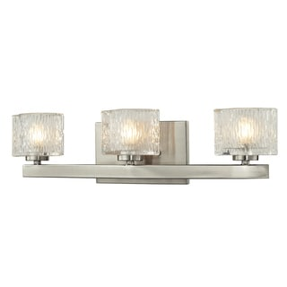 Rai Brushed Nickel 3-light Vanity Light with Clear Glass