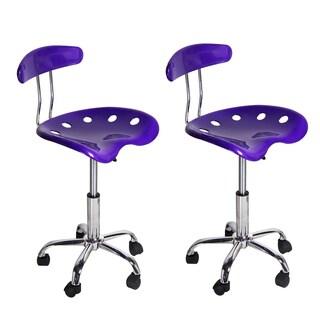 Purple Hydraulic-lift Adjustable Bar Stools (Set of 2)