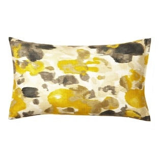 Contemporary Floral Yellow/ Grey Lumbar Pillow