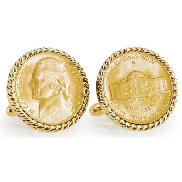 American Coin Treasures Gold-Plated Silver Jefferson Wartime Nickel Goldtone Rope Bezel Cuff Links 12823710