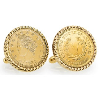 American Coin Treasures Gold-layered 1800s Liberty Nickel Goldtone Rope Bezel Cuff Links