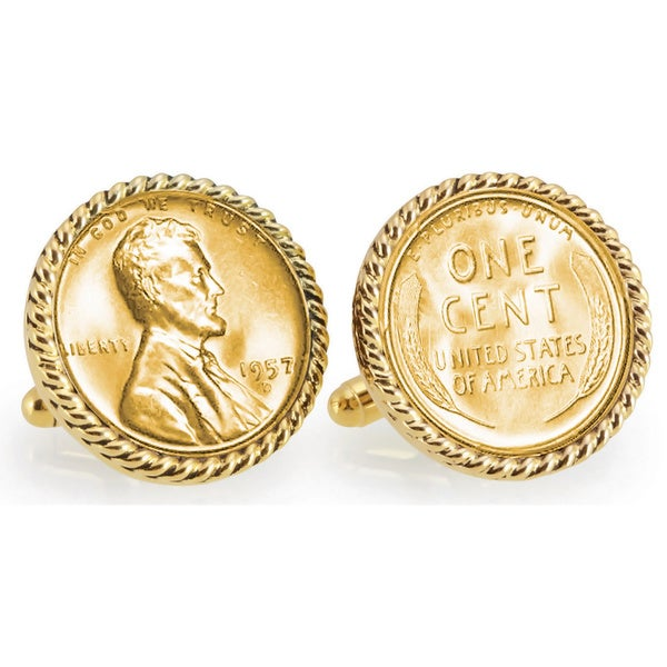 American Coin Treasures Gold-layered Lincoln Wheat-Ear Penny Cuff Goldtone Rope Bezel Cuff Links