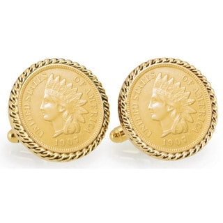 American Coin Treasures Gold-layered Indian Head Penny Goldtone Rope Bezel Cuff Links