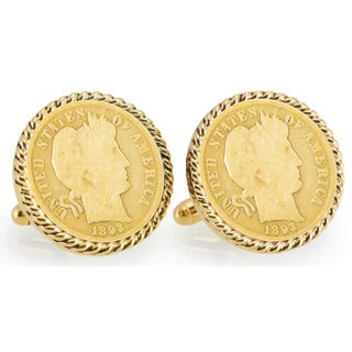 American Coin Treasures Gold-layered 1800s Silver Barber Dime Goldtone Rope Bezel Cuff Links