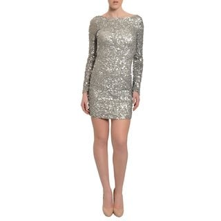 Aidan Mattox Women's Silver Sequins Fitted Party Dress