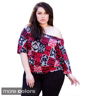 Sealed With a Kiss Women's Plus Size 'Jenna' Tribal Print Jersey Top