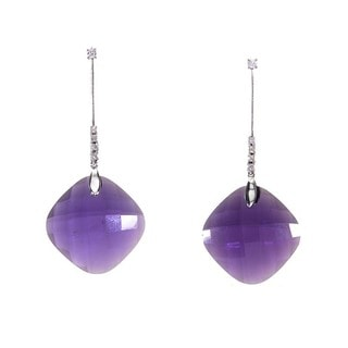 18k White Gold 1/8ct TDW Diamond and Square Amethyst Drop Earrings (H-I, SI1-SI2)