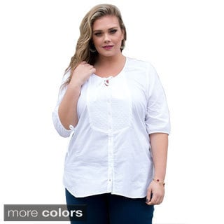 Sealed With a Kiss Women's Plus Size 'Madison' Button-down Top
