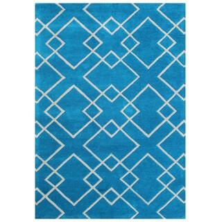 Alliyah Handmade River Blue Wool Rug (5' x 8')