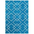 Handmade Alliyah River Blue Wool Rug (5' x 8')