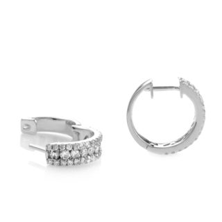 14k White Gold 1ct TDW Round-cut Diamond Hoop Earrings (H-I, SI1-SI2)